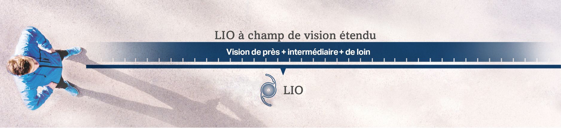 Un homme représentant un champ de vision étendu en vision de près, de loin et intermédiaire avec une LIO à champ de vision étendu