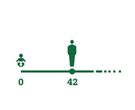 Icône de frise chronologique représentant l'âge moyen auquel les premiers symptômes de la presbytie apparaissent (42 ans)