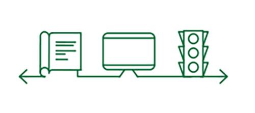 Icônes de livre, d'ordinateur et de feux tricolores indiquant l'amélioration de la vision de loin