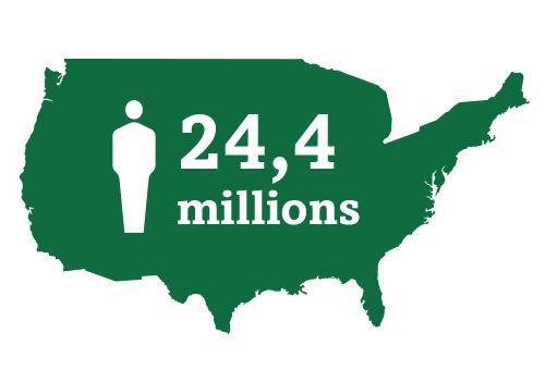 Icône de carte représentant les 24,4 millions d'Américains atteints de cataracte